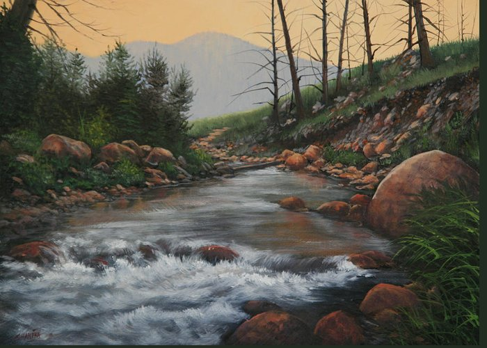 Original Oil Painting Greeting Card featuring the painting 090430-1216  Trout Creek - Spring by Kenneth Shanika