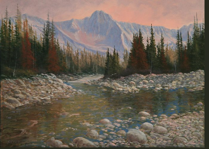 Original Oil Painting Greeting Card featuring the painting 090504-1216  Rocky Creek by Kenneth Shanika