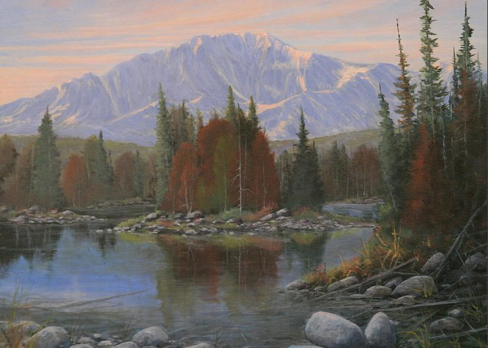 Landscape Greeting Card featuring the painting 090506-1418  Colorado Morning by Kenneth Shanika