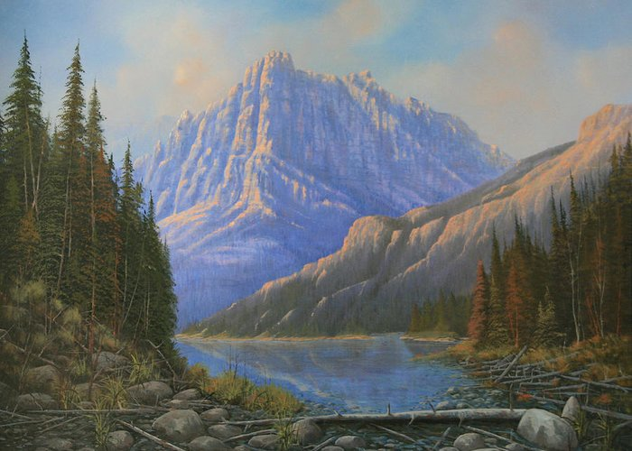 Landscape Greeting Card featuring the painting 090523-3040  Between Heaven And Earth by Kenneth Shanika