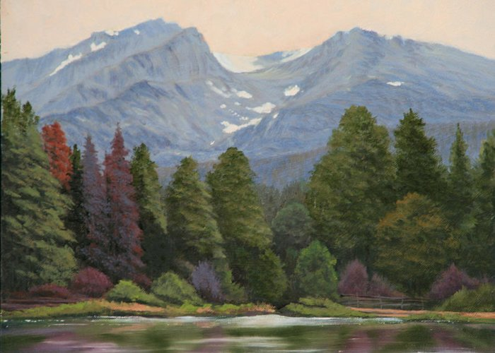 Landscape Greeting Card featuring the painting 090817-1114 Ripples and Reflections - Sprague Lake by Kenneth Shanika