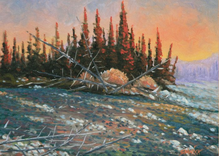 Landscape Greeting Card featuring the painting 090902-68 All Aglow by Kenneth Shanika