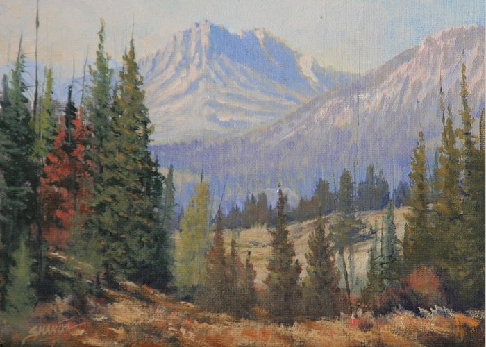 Landscape Greeting Card featuring the painting 090915-68 Beckoning Solitude by Kenneth Shanika