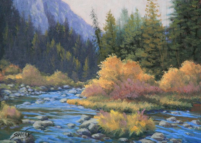 Landscape Greeting Card featuring the painting 090917-68 Canyon Stream by Kenneth Shanika