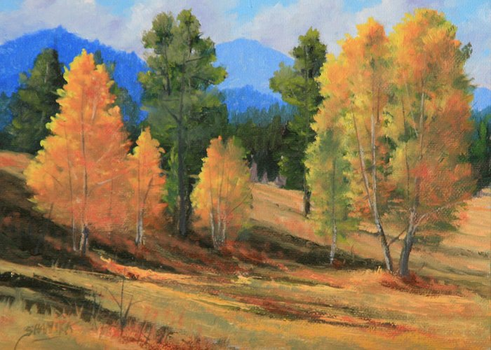 Landscape Greeting Card featuring the painting 090922-68 Golden Moments by Kenneth Shanika