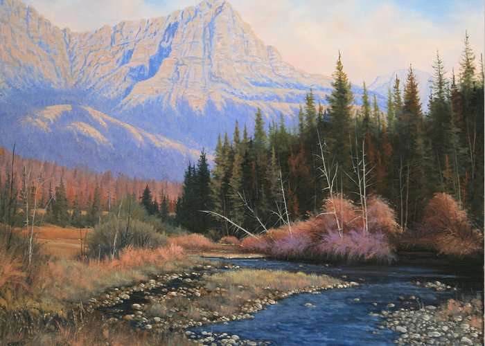 Landscape Greeting Card featuring the painting 091022-2024 Into The Back Country by Kenneth Shanika