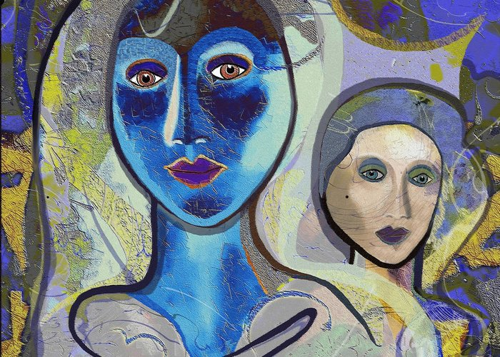 Lady Greeting Card featuring the digital art 092 - Blue Lady by Irmgard Schoendorf Welch