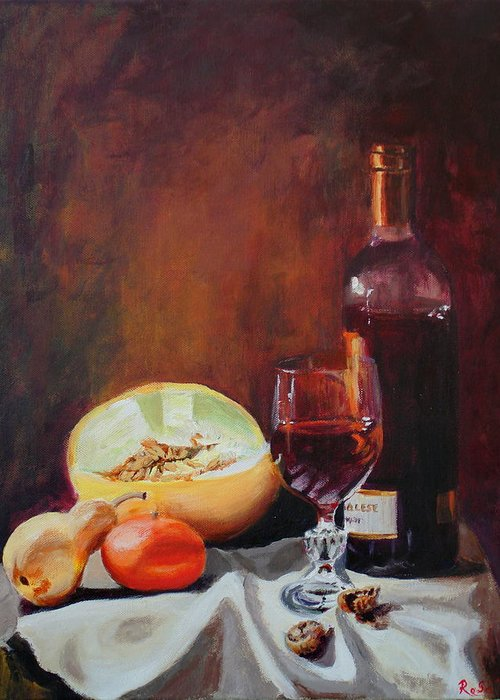 Still Life Greeting Card featuring the painting Still Life With Wine by Rose Sciberras
