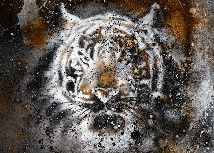 Africa Greeting Card featuring the painting Tiger Collage On Color Abstract Background Rust Structure Wildlife Animals by Jozef Klopacka