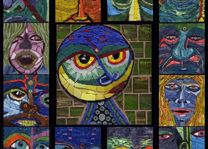 Mosaic Greeting Card featuring the painting 13 Faces by Gila Rayberg