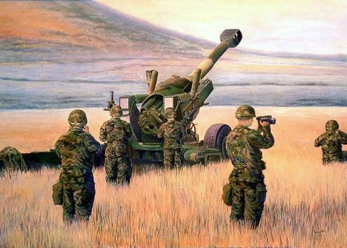 Signed And Numbered Prints Of The Montana National Guard Greeting Card featuring the print 1-190th Artillery by Scott Robertson