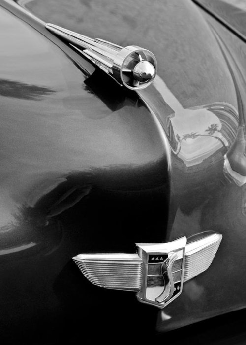 1949 Studebaker Champion Hood Ornament Greeting Card featuring the photograph 1949 Studebaker Champion Hood Ornament by Jill Reger