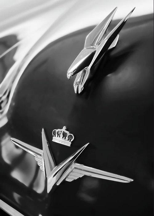1954 Chrysler Imperial Sedan Greeting Card featuring the photograph 1954 Chrysler Imperial Sedan Hood Ornament 3 by Jill Reger
