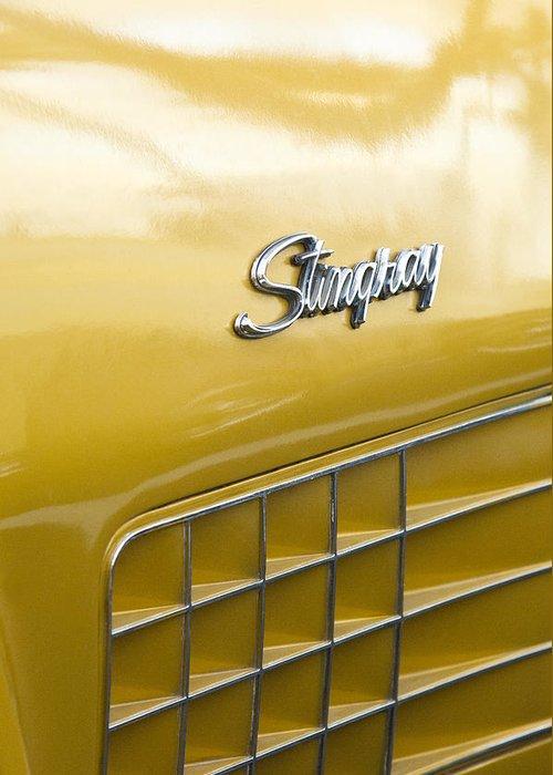 1972 Chevrolet Corvette Stingray Greeting Card featuring the photograph 1972 Chevrolet Corvette Stingray Emblem by Jill Reger