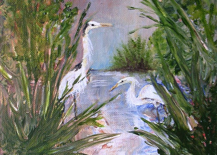 Heron Greeting Card featuring the painting 2 Herons In Hiding by Barbara Harper