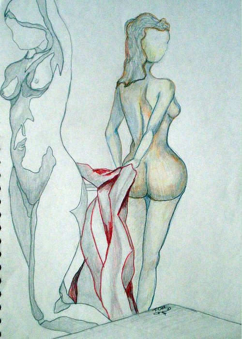 Nudes Greeting Card featuring the drawing 2 Women And A Blanket by Tammera Malicki-Wong