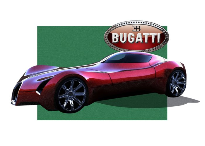 �bugatti� By Serge Averbukh Greeting Card featuring the photograph 2025 Bugatti Aerolithe Concept with 3 D Badge by Serge Averbukh