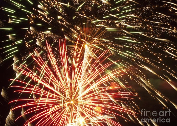 4th Greeting Card featuring the photograph 4th Of July Fireworks by Joe Carini - Printscapes