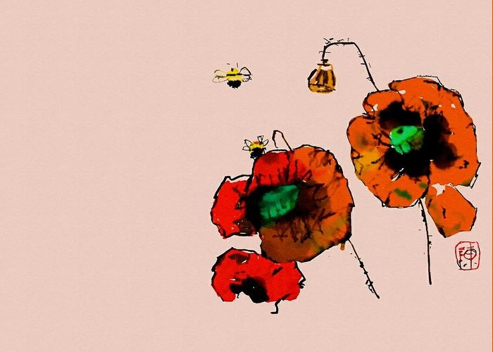 Botanical. Gardens. Poppy. Red Greeting Card featuring the digital art A Few Poppies by Debbi Saccomanno Chan