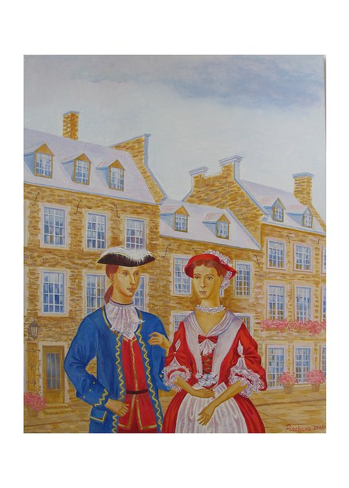Figures Greeting Card featuring the painting A Gentlemen With His Lady . by Natalia Piacheva