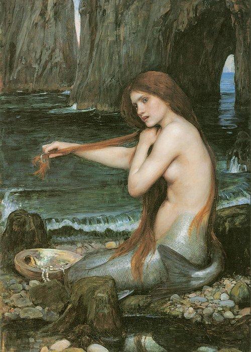 John William Waterhouse Greeting Card featuring the painting A Mermaid by John William Waterhouse