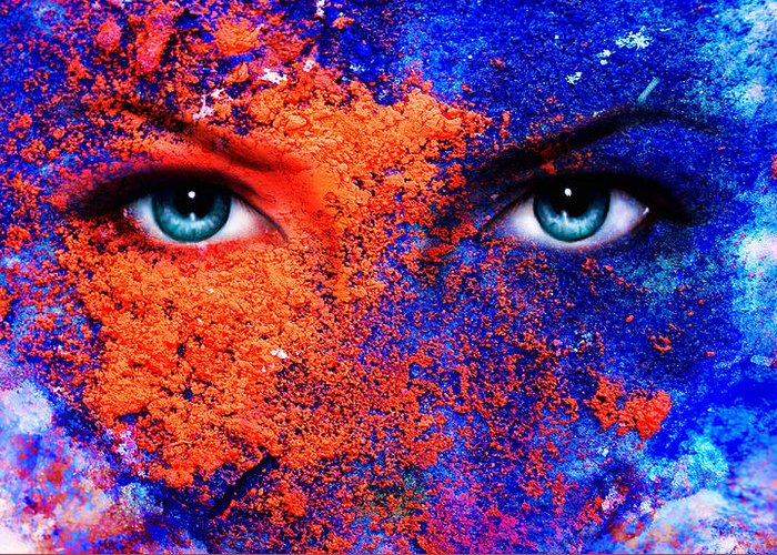Rosa Greeting Card featuring the photograph A Pair Of Beautiful Blue Women Eyes Beaming Color Earth Effect Painting Collage Violet Makeup by Jozef Klopacka