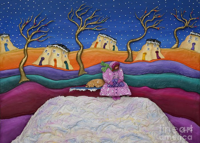 Winter Scene Greeting Card featuring the sculpture A Snowy Night by Anne Klar