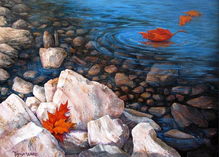 Landscape Greeting Card featuring the painting A Touch Of Fall by Tanja Ware
