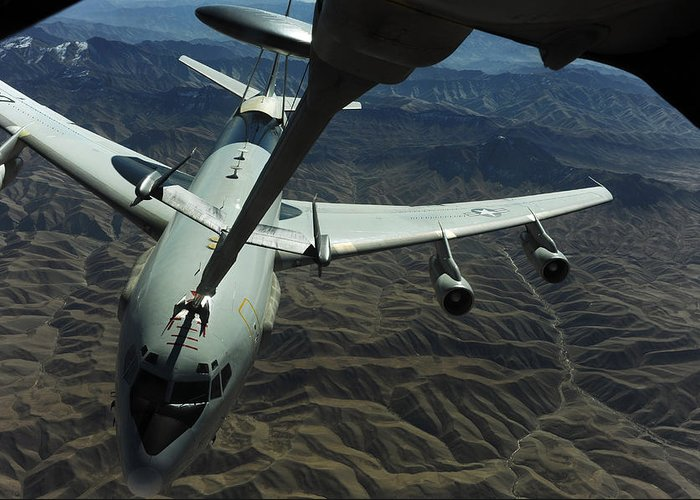 Kc-10 Extender Greeting Card featuring the photograph A U.s. Air Force E-3 Sentry Aircraft by Stocktrek Images