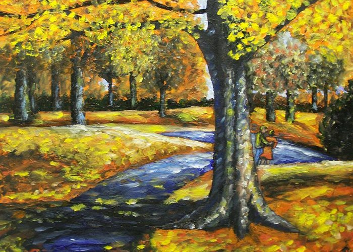 Landscape Greeting Card featuring the painting A Walk In The Park by Charles Vaughn