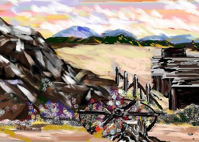 Desert Greeting Card featuring the digital art Abandoned by Patricia Hengeveld