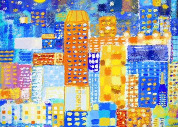 Abstract Greeting Card featuring the painting Abstract City by Setsiri Silapasuwanchai