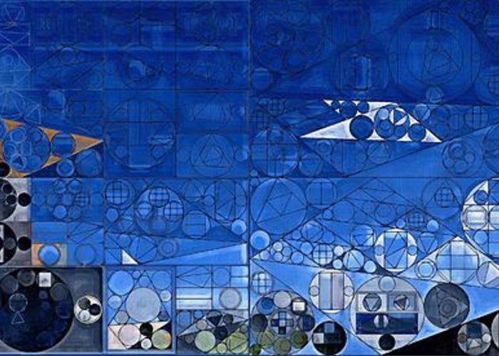 Tetragon Greeting Card featuring the digital art Abstract Painting - Yale Blue by Vitaliy Gladkiy
