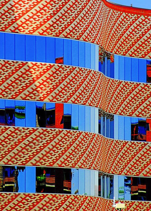 Facade Greeting Card featuring the photograph Abstract Reflections In Glass Tucson Arizona by Christine Till