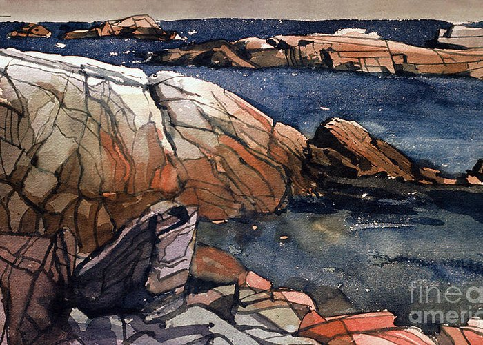 Acadia Greeting Card featuring the painting Acadia Rocks by Donald Maier