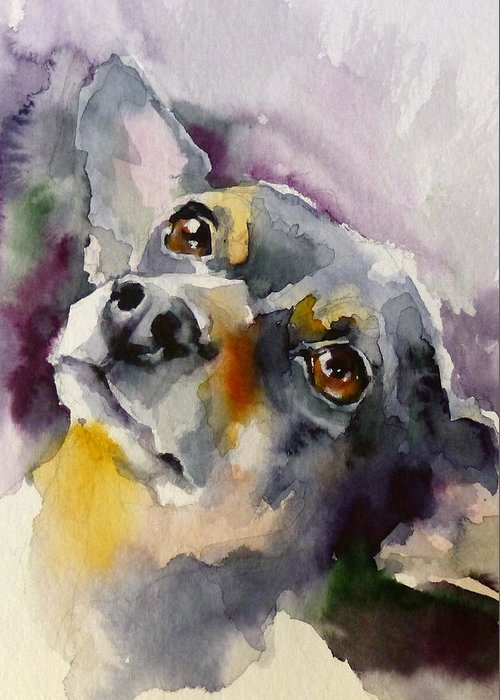 Pets Greeting Card featuring the painting Adopt125 by Katya Minkina