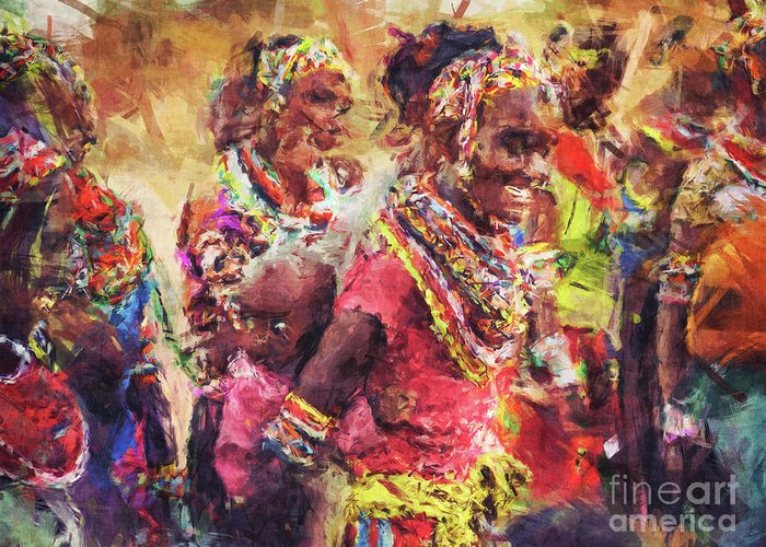 African Greeting Card featuring the digital art African Woman by Phil Perkins