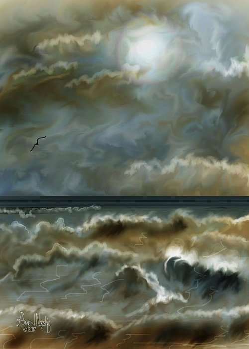 Seascape Greeting Card featuring the painting After The Squall by Anne Norskog