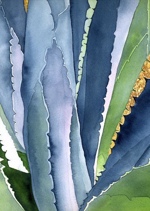 Botanical Greeting Card featuring the painting Agave 2 by Eunice Olson
