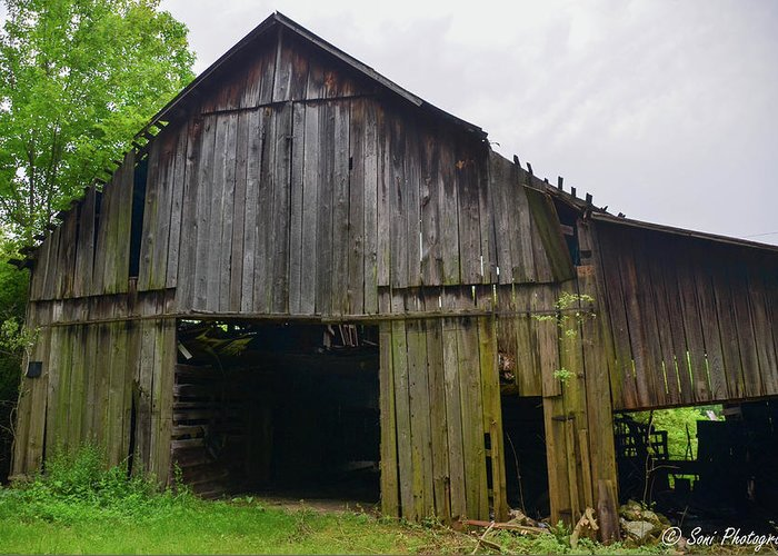 Aging Barn Greeting Card featuring the photograph Aged Wood Barn Series by Soni Macy