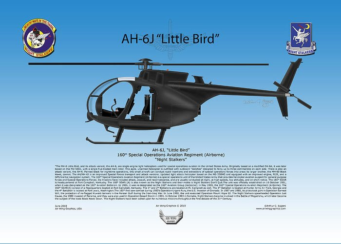Ah-6j Greeting Card featuring the digital art Ah-6j Little Bird by Arthur Eggers