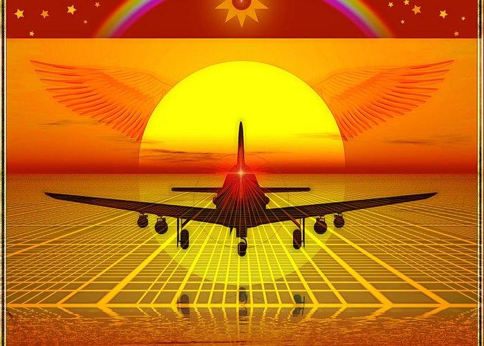 Symbolic Digital Art Greeting Card featuring the digital art Aircraft by Harald Dastis