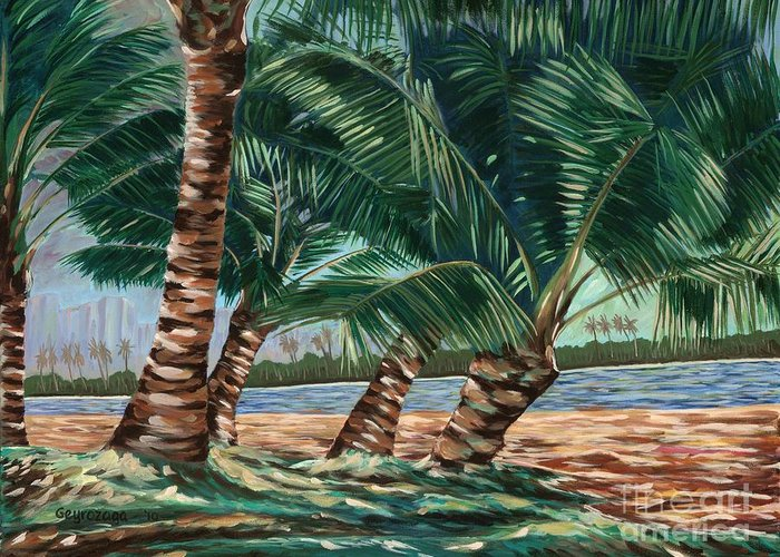 Coconut Trees Greeting Card featuring the painting Ala Moana Beach by Larry Geyrozaga