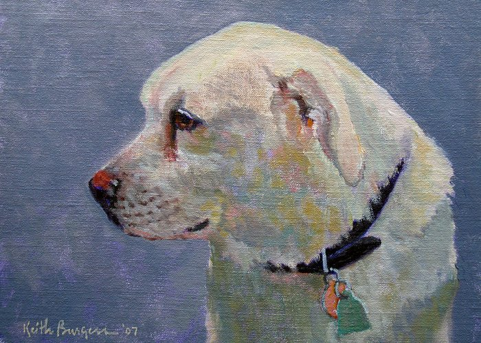 Dog Greeting Card featuring the painting Alex by Keith Burgess