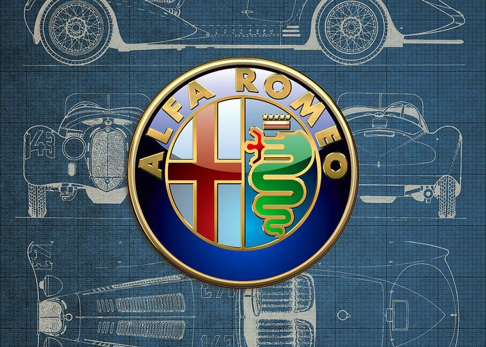 �wheels Of Fortune� By Serge Averbukh Greeting Card featuring the photograph Alfa Romeo 3 D Badge over 1938 Alfa Romeo 8 C 2900 B Vintage Blueprint by Serge Averbukh