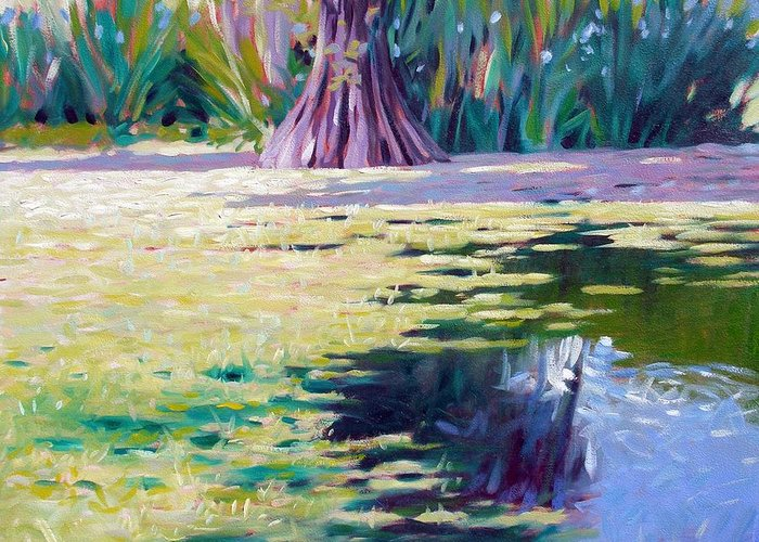 Water Greeting Card featuring the painting Algae by Kevin Lawrence Leveque