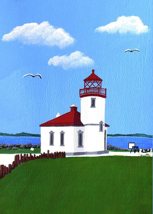 Lighthouse Greeting Card featuring the painting Alki Point Lighthouse by Frederic Kohli