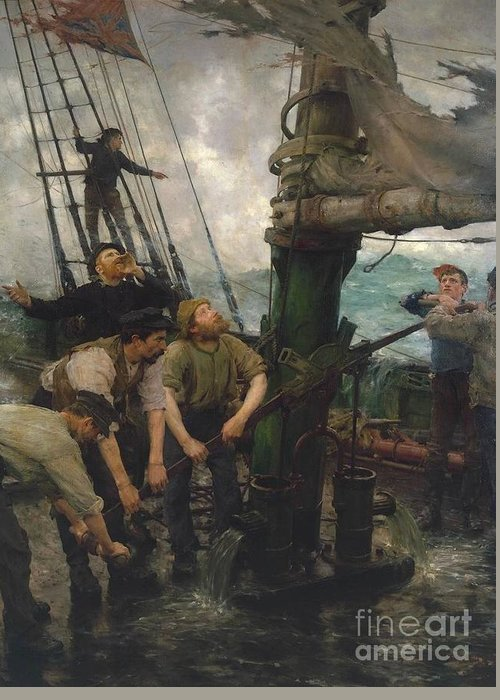 Henry Scott Tuke Greeting Card featuring the painting All Hands To The Pumps by MotionAge Designs
