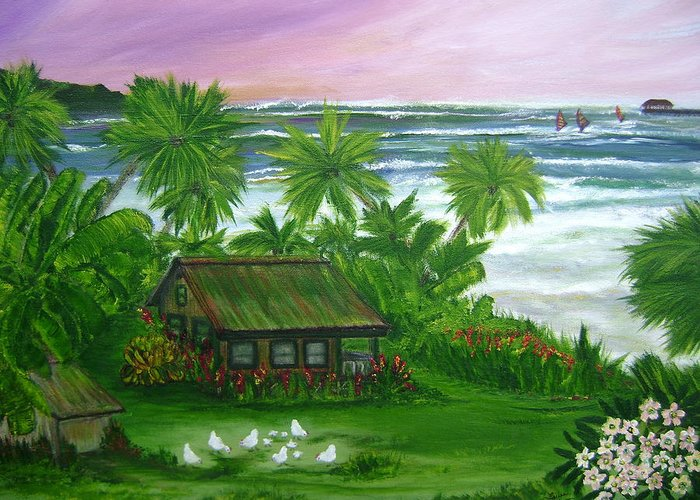 Hawaii Greeting Card featuring the painting Aloha Morning by Laura Johnson
