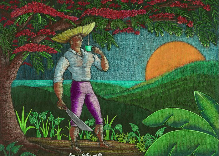 Puerto Rico Greeting Card featuring the painting Amanecer en Borinquen by Oscar Ortiz